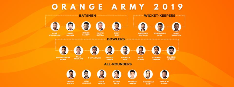 IPL 2019 - Sunrisers Hyderabad